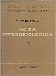 Acta Hydrobiologica Vol. 20 Fasc. 2 (1978)