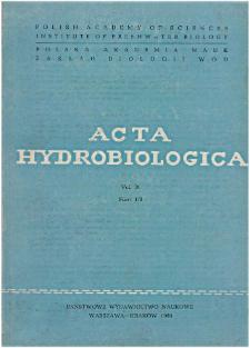 Acta Hydrobiologica Vol. 31 Fasc. 1/2 (1989)