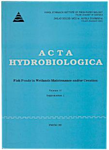 Acta Hydrobiologica Vol. 37 Suppl. 1 (1995)