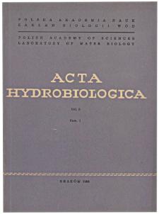 Acta Hydrobiologica Vol. 8 Fasc. 1 (1966)