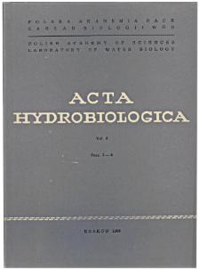 Acta Hydrobiologica Vol. 8 Fasc. 3-4 (1966)