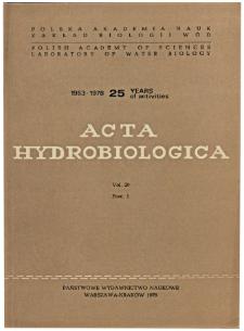 Acta Hydrobiologica Vol. 20 Fasc. 1 (1978)