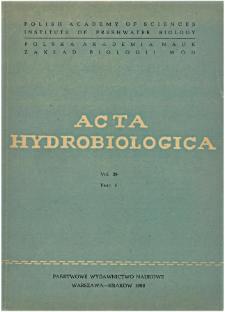 Acta Hydrobiologica Vol. 29 Fasc. 4 (1987)