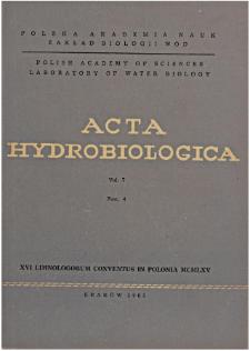 Acta Hydrobiologica Vol. 7 Fasc. 4 (1965)