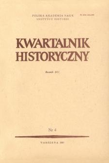 Kwartalnik Historyczny R. 91 nr 4 (1984), Artykuły recenzyjne