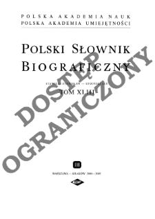 Polski słownik biograficzny T. 43 (2004-2005), Stawicki Stanisław Grzegorz - Stoiński (Stojeński, Statorius) Jan
