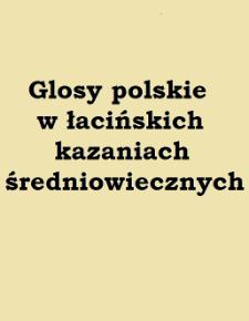 Glosy polskie w łacińskich kazaniach średniowiecznych