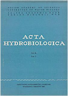 Acta Hydrobiologica Vol. 24 Fasc. 3 (1982)