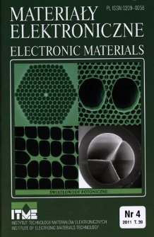 Materiały Elektroniczne 2011 T.39 nr 4 = Electronic Materials 2011 T.39 nr 4