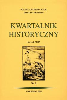 Kwartalnik Historyczny R. 108 nr 2 (2001), Artykuły recenzyjne