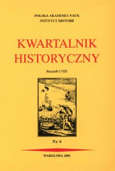 Kwartalnik Historyczny R. 108 nr 4 (2001), Artykuły recenzyjne