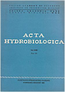 Acta Hydrobiologica Vol. 25/26 Fasc. 3/4 (1983/1984)