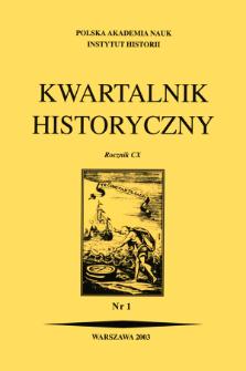 Kwartalnik Historyczny R. 110 nr 1 (2003), Artykuły recenzyjne