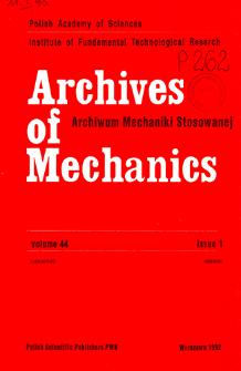 Archives of Mechanics Vol. 44 nr 1 (1992)