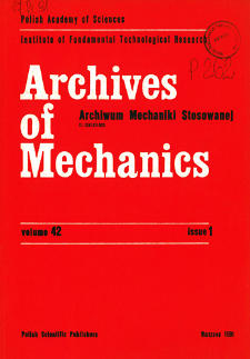 Archives of Mechanics Vol. 42 nr 1 (1990)