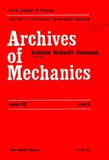 Archives of Mechanics Vol. 39 nr 5 (1987)