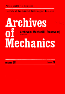 Archives of Mechanics Vol. 38 nr 3 (1986)