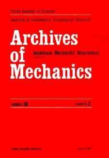 Archives of Mechanics Vol. 38 nr 1-2 (1986)