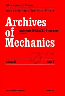 Archives of Mechanics Vol. 37 nr 6 (1985)