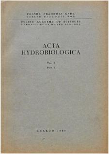 Acta Hydrobiologica Vol. 1 Fasc. 1 (1959)