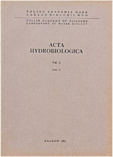 Acta Hydrobiologica Vol. 3 Fasc. 4 (1961)