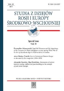 Studia z Dziejów Rosji i Europy Środkowo-Wschodniej, Vol. 55, No 3 (2020), Special Issue, Articles