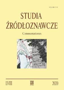 Studia Źródłoznawcze = Commentationes T. 58 (2020)