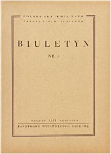 Biuletyn Nr 1 (1954)