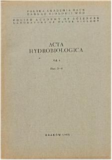 Acta Hydrobiologica Vol. 4 Fasc. 3-4 (1962)