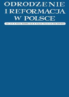 Odrodzenie i Reformacja w Polsce T. 64 (2020), Materiały