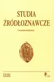 Studia Źródłoznawcze = Commentationes T. 39 (2001), Rozprawy i studia