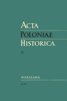 Acta Poloniae Historica T. 2 (1959), Études