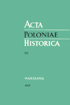 Acta Poloniae Historica T. 12 (1965), Notes critiques