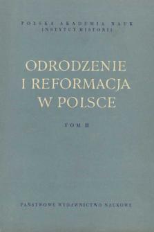 Odrodzenie i Reformacja w Polsce T. 2 (1957), Materiały