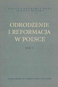 Odrodzenie i Reformacja w Polsce T. 5 (1960), Materiały