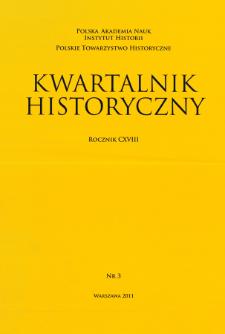 Kwartalnik Historyczny R. 118 nr 3 (2011), Artykuły recenzyjne