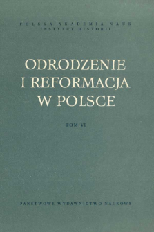 Odrodzenie i Reformacja w Polsce T. 6 (1961), Rozprawy