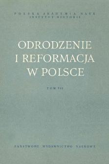 Odrodzenie i Reformacja w Polsce T. 7 (1962), Materiały