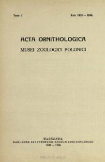 Acta Ornithologica Musei Zoologici Polonici ; t. 1
