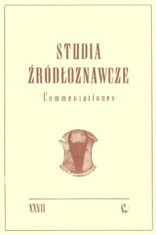 Studia Źródłoznawcze = Commentationes T. 27 (1983), Studia Źródłoznawcze = Commentationes T. 27 (1983)