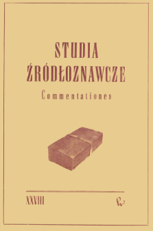 Studia Źródłoznawcze = Commentationes T. 28 (1983)