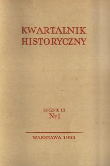Kwartalnik Historyczny R. 60 nr 1 (1953), Materiały