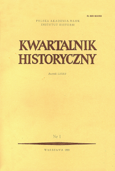 Kwartalnik Historyczny R. 90 nr 1 (1983), Artykuły recenzyjne