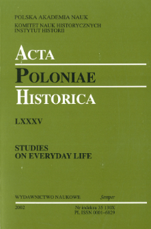 Acta Poloniae Historica T. 85 (2002), Early Modern Times: the Townspeople