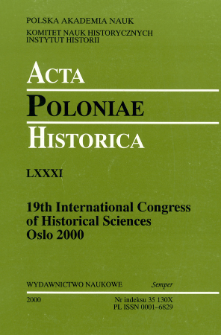 Acta Poloniae Historica T. 81 (2000), The Baltic Area in History