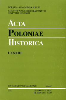 Acta Poloniae Historica T. 83 (2001), Reviews