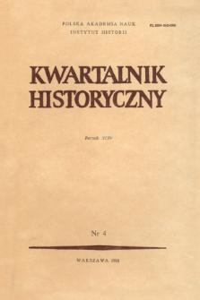 Kwartalnik Historyczny R. 94 nr 4 (1987), Artykuły recenzyjne