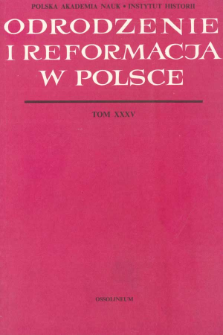 Odrodzenie i Reformacja w Polsce T. 35 (1990)