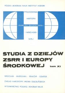 Studia z Dziejów ZSRR i Europy Środkowej. T. 11 (1975)