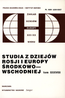 Studia z Dziejów Rosji i Europy Środkowo-Wschodniej. T. 38 (2003)